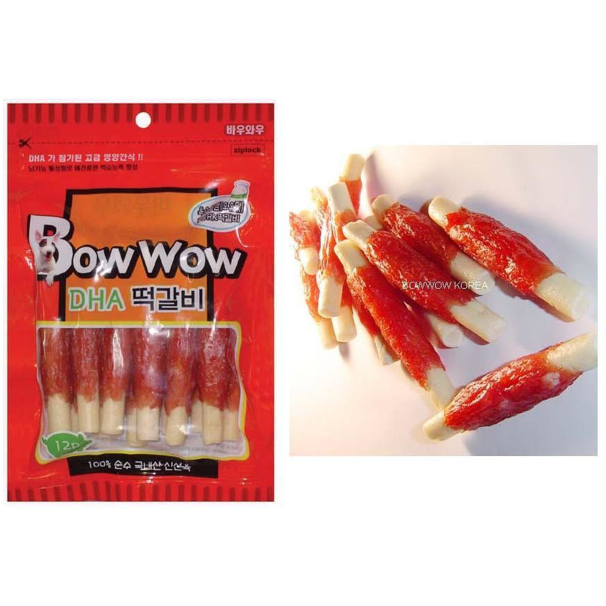 Bow Wow Pork Loin Roll Meat Stick Dog Treats 6pcs