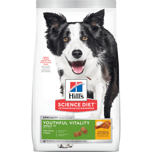Science Diet Canine Youthful Vitality Adult 7+with Chicken & Rice Recipe Dog Dry Food 1.58kg