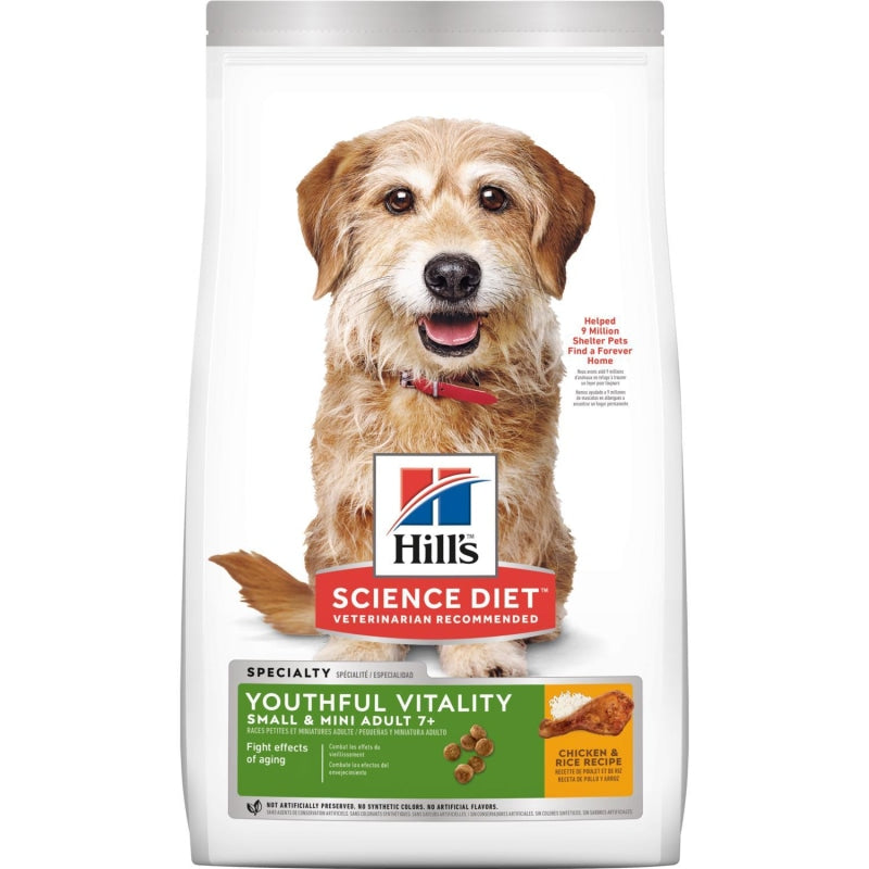 Science Diet Canine Youthful Vitality Adult 7+ Small Dog & Toy Breed with Chicken & Rice Recipe Dog Dry Food 1.58kg