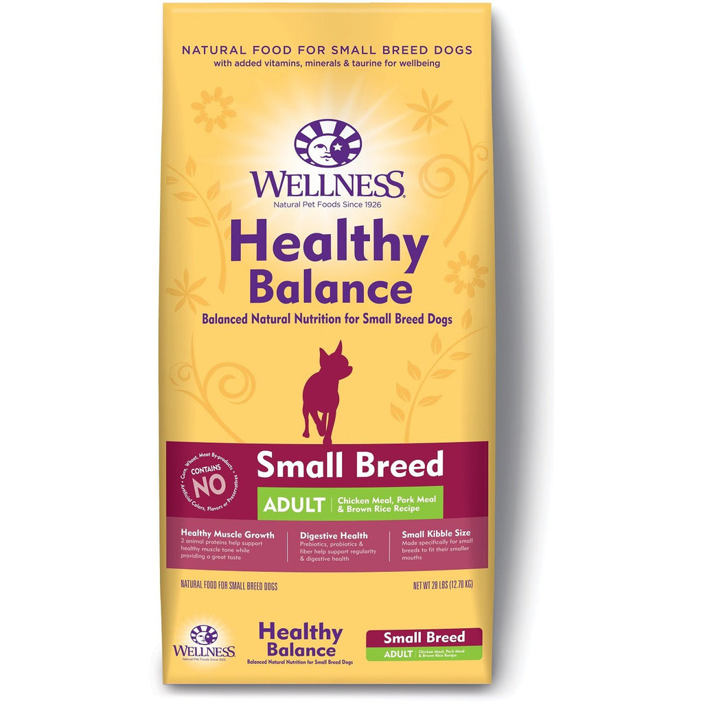 Wellness Dog Healthy Balance Small Breed Adult Chicken Meal,Pork Meal & Oatmeal Recipe 28Lb