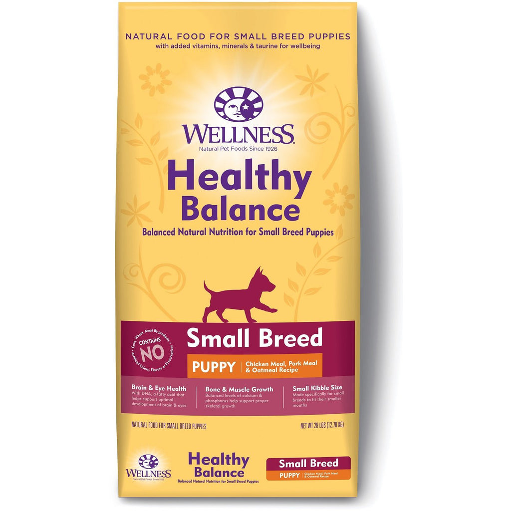 Wellness Dog Healthy Balance Small Breed Puppy Chicken Meal,Pork Meal & Oatmeal Recipe 28Lb