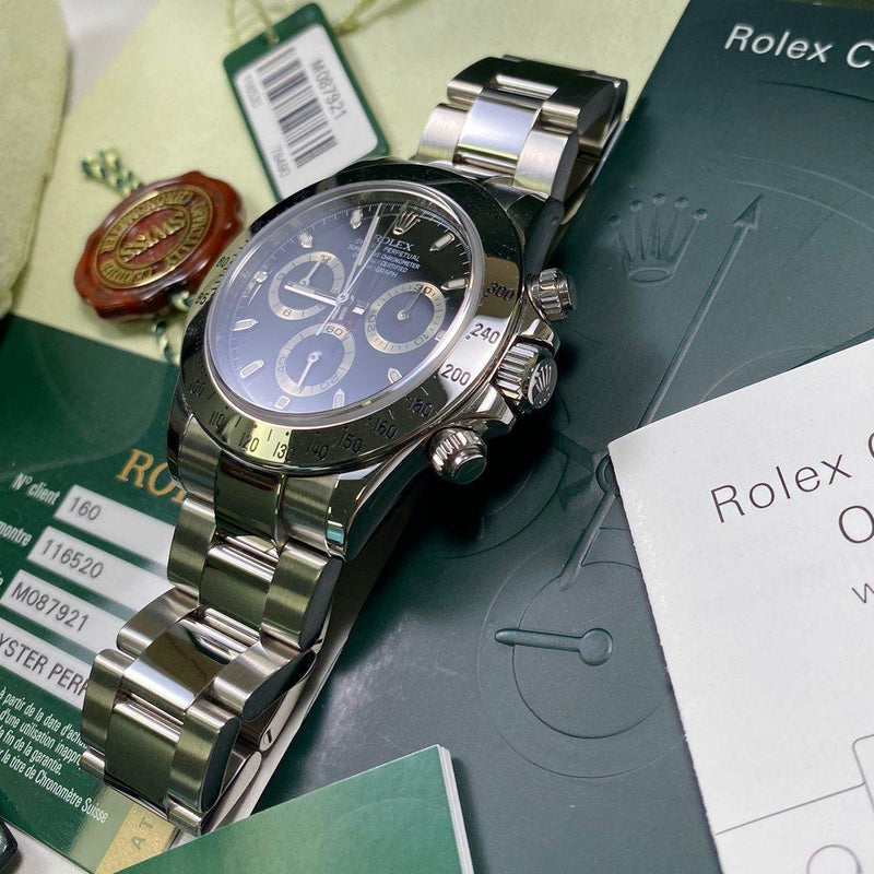 Rolex Daytona 116520 •BLACK DIAL• (2008 - M Serial) - Swiss Watch Trader