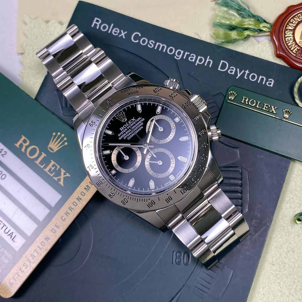 Rolex Daytona 116520 •BLACK DIAL• (2010 - V Serial) - Swiss Watch Trader