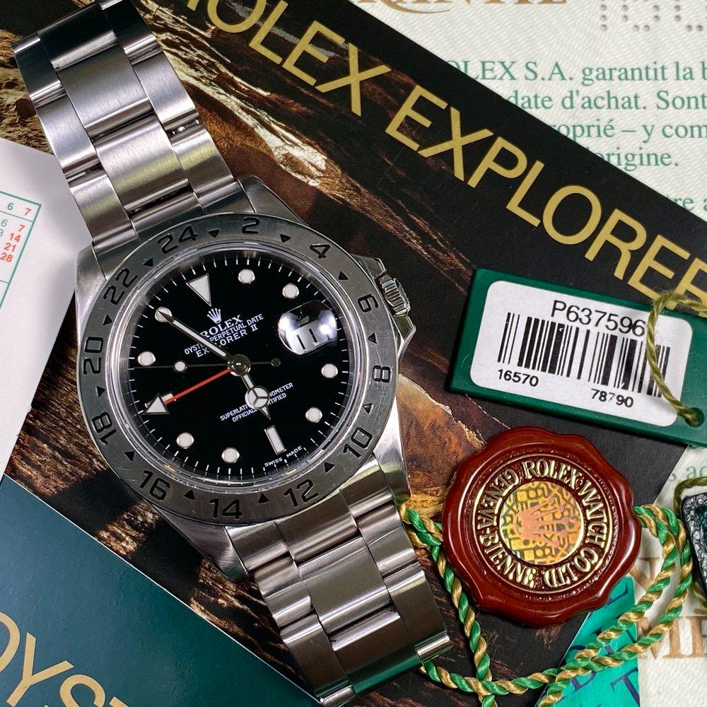 Rolex Explorer II 16570 •Black Dial• (2001 - P Serial) - Swiss Watch Trader