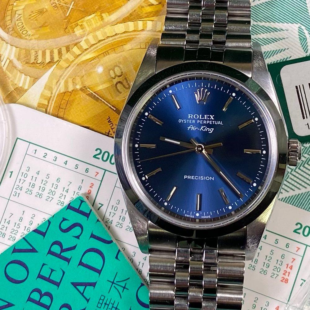 Rolex Oyster Perpetual Air-King 14000 34mm •BLUE DIAL• (2000 - P Serial) - Swiss Watch Trader