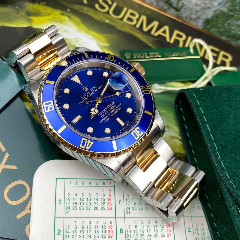 Rolex Submariner 16613 Blue Dial (2002 - P Serial) - Swiss Watch Trader