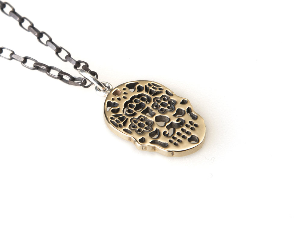 Calavera blackened 9ct yellow gold necklace