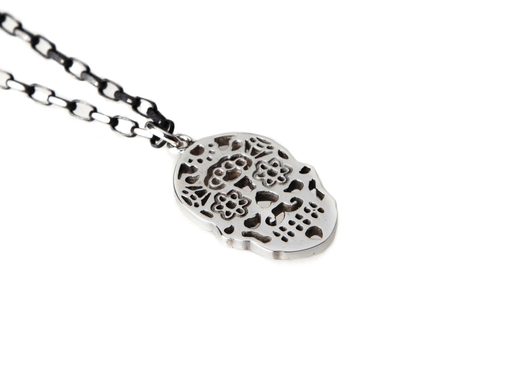 Calavera blackened sterling silver necklace