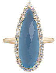 Opulence Blue Chalcedony Pear ring