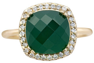 Opulence Green onyx Cushion Ring