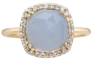 Opulence Blue Chalcedony Cushion Ring