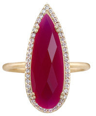 Opulence Raspberry Chalcedony Pear Ring