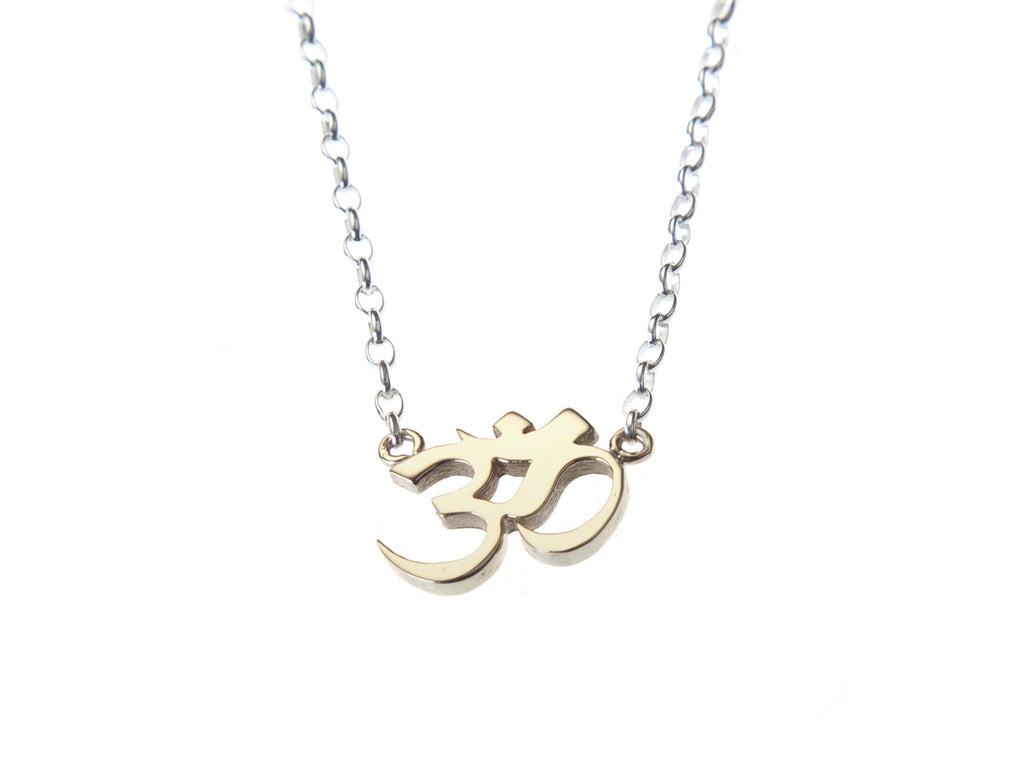Gold OM gratitude charm necklace