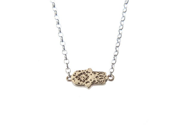 Gold Hamsa gratitude charm necklace