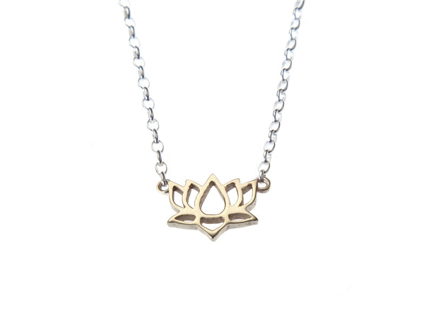 Gold lotus gratitude charm necklace