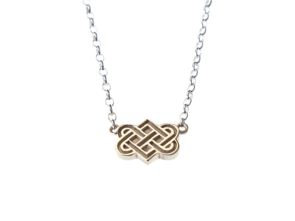 Gold Tibetan love knot gratitude charm necklace