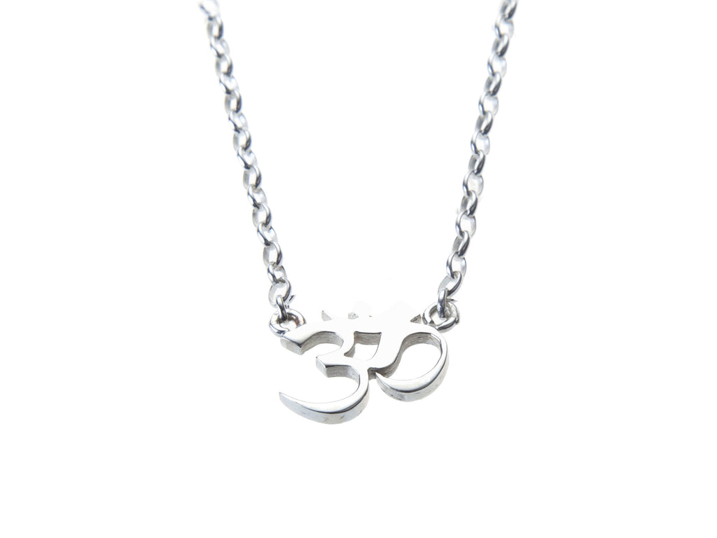 Silver OM gratitude charm necklace