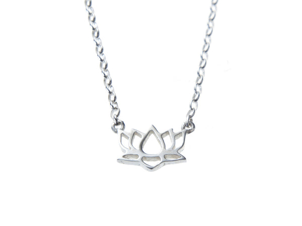 Silver Lotus gratitude charm necklace