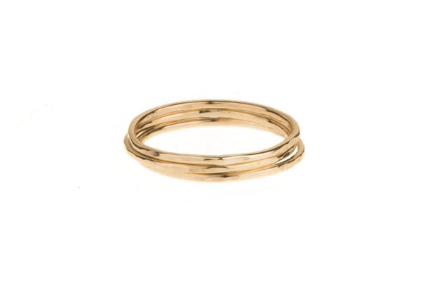 Super fine trio stack 9ct yellow gold