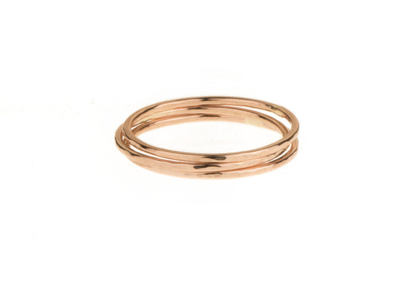 Super fine trio stack 9ct Red gold