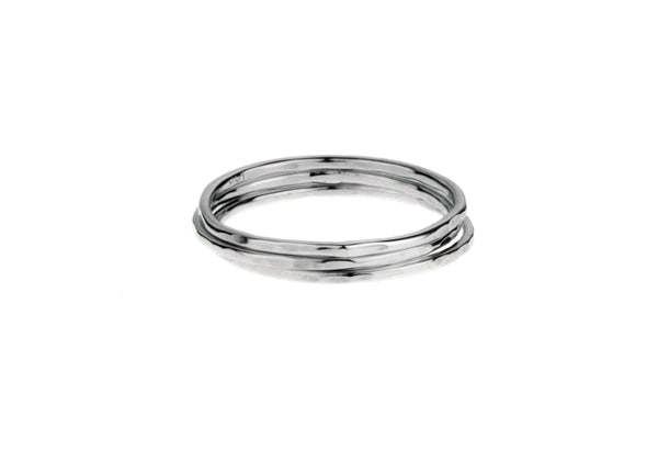 Super fine trio stack sterling silver