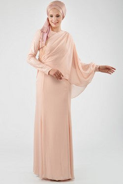 Exclusive Evening Dress: Soft Peach Layered Chiffon (Sequin)