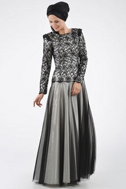 Exclusive Evening Dress:  Classic Grey Lace