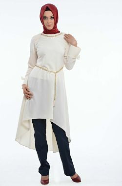 White Bow Fishtail Tunic