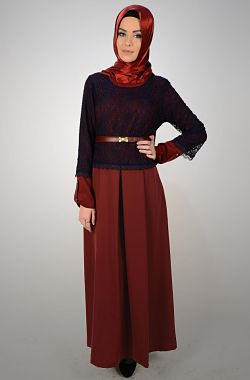 Navy Blue Lace/ Maroon Dress