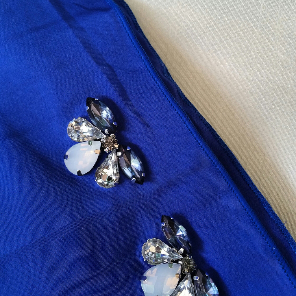 Premium Satin Maxi Snood with Stones in Royal Blue