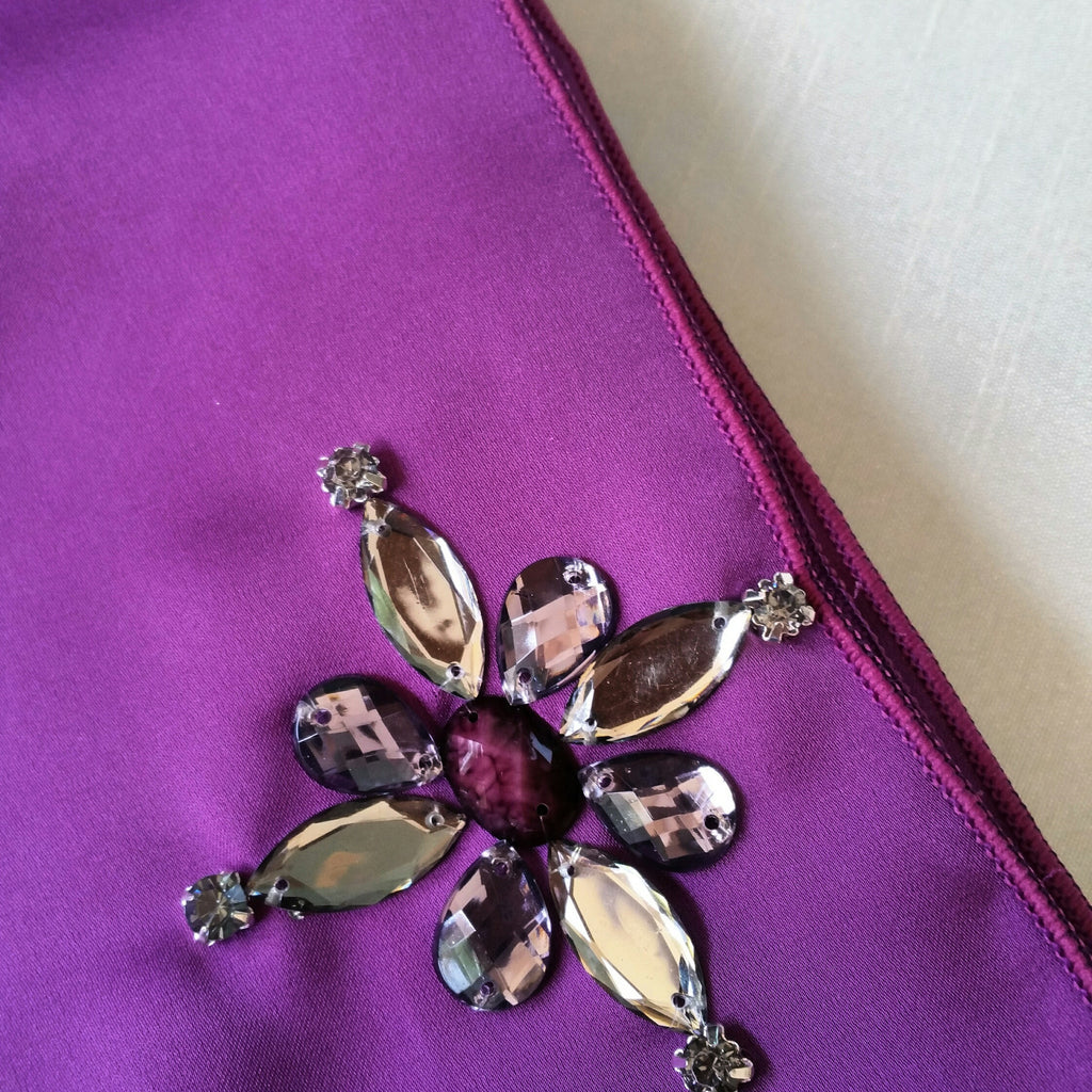 Premium Satin Maxi Snood with Stones in Grape
