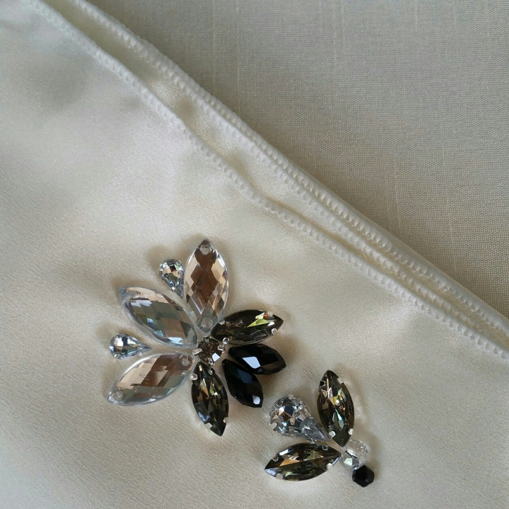 Satin Shawl with Stones in Ivory