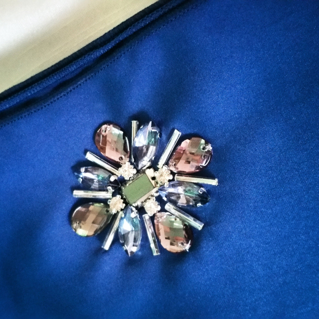 Premium Satin Maxi Snood with Stones in Navy Blue