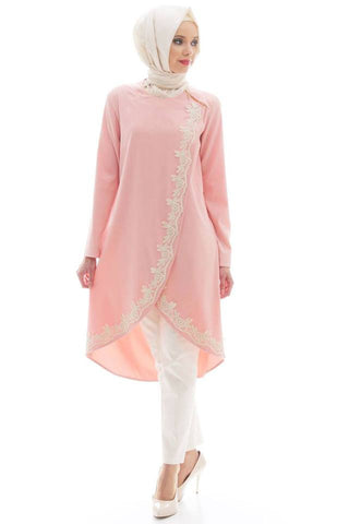 Lace Tunic in coral pink (outerwear) Nursing friendly