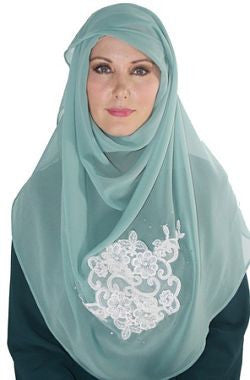 Powder Blue Chiffon Lace Shawl