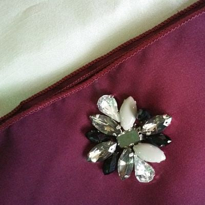 Premium Satin Maxi Snood with Stones in Burgundy
