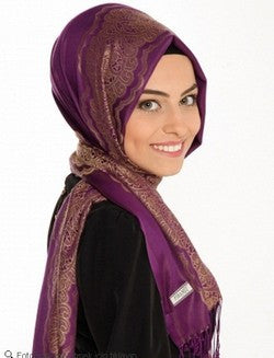 Printed Lace Shawl: Purple