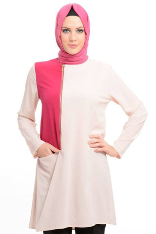 Pink Zip-front Tunic