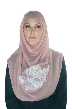 Dusty Pink Chiffon Lace Shawl