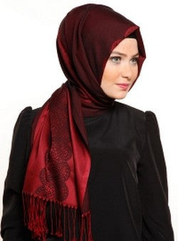 Printed Lace Shawl: Dark Red