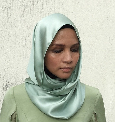 Luxe Satin Silk Snood in Dusty Green (MAXI)