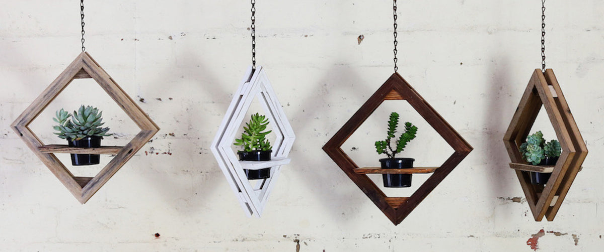 DIAMOND HANGING POT PLANTS HOLDER, decorate my garden, decorate my deck, hanging plants for my home, quality hanging planters, diamond wooden shaped planters, recycled wood planters, verandah styling, balcony styling, sustainable outdoor styling,