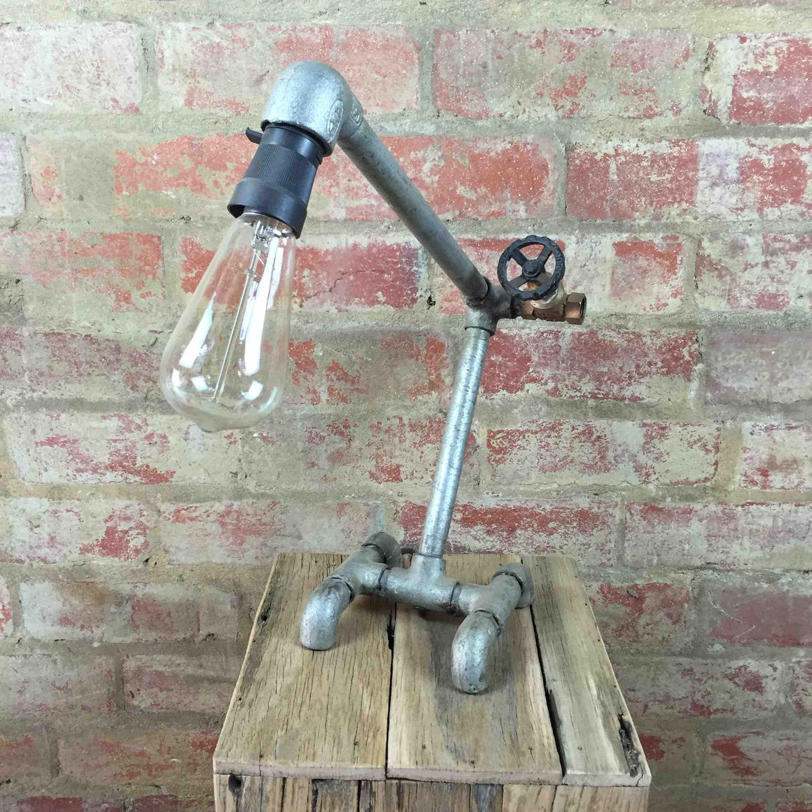 Baton Rouge Table Lamp, made from old galvanised plumbing pipes
