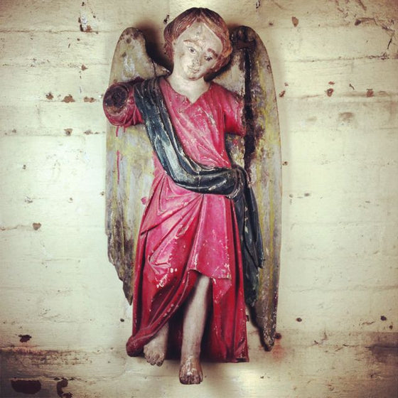 Hand carved angel statue from Mulbury