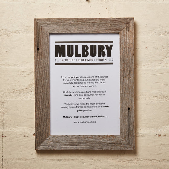 Recycled timber picture frame hand made by Mulbury