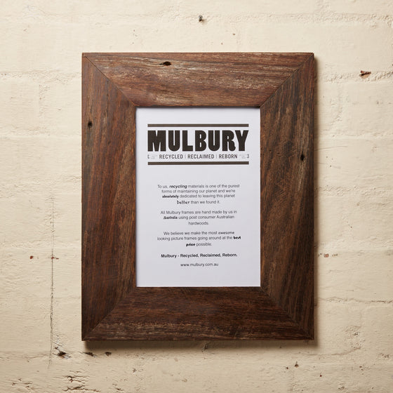 Wide Oiled frame made by Mulbury with recycled timber