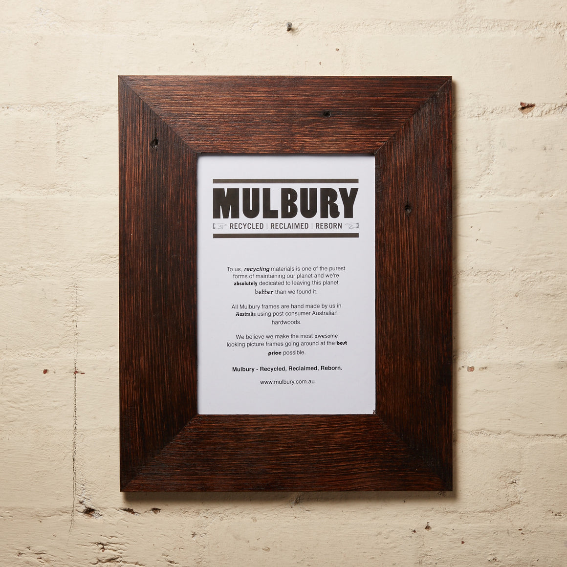 Wide chocolate wax frame made by Mulbury using recycled timber