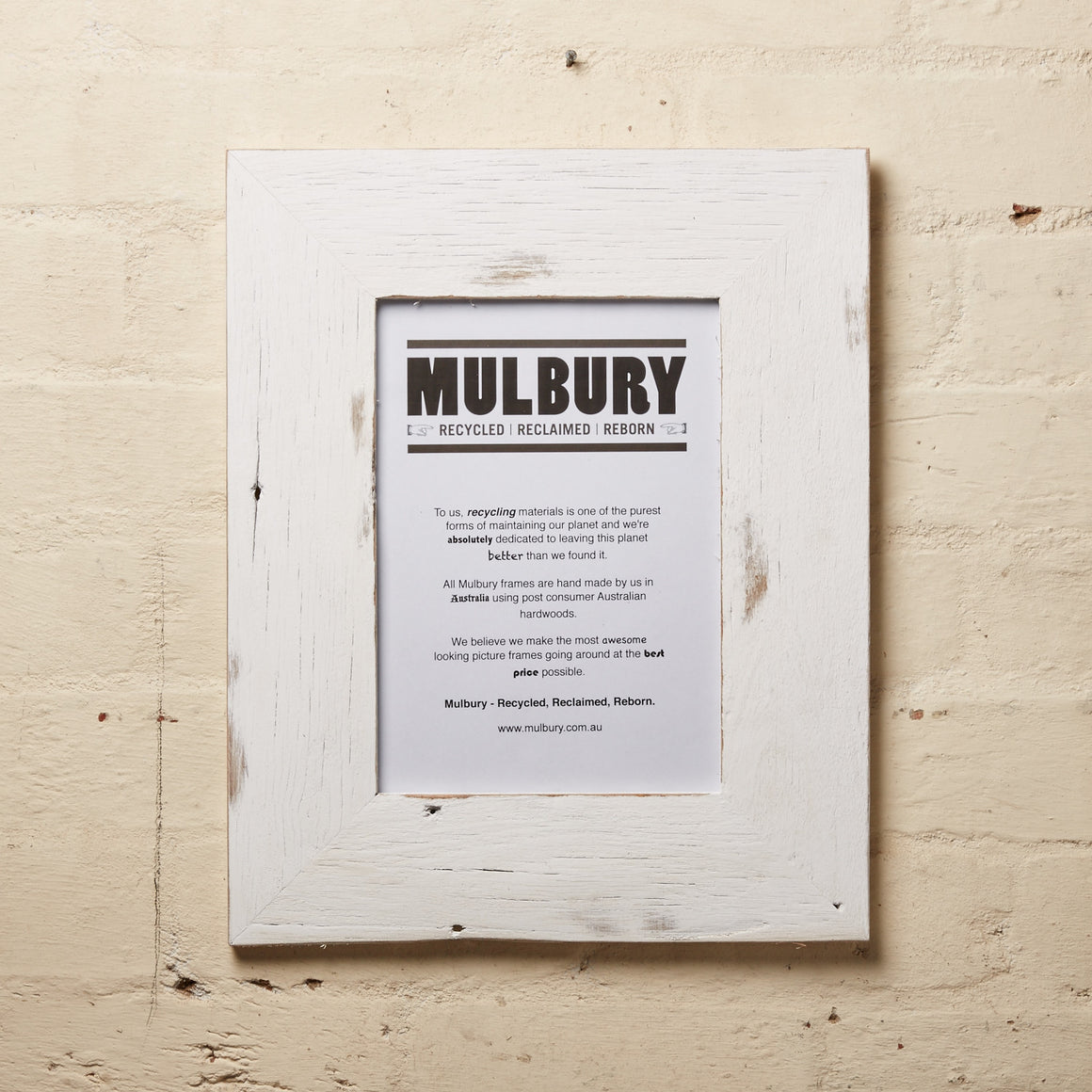 Wide White Wash frame made by Mulbury with recycled timber