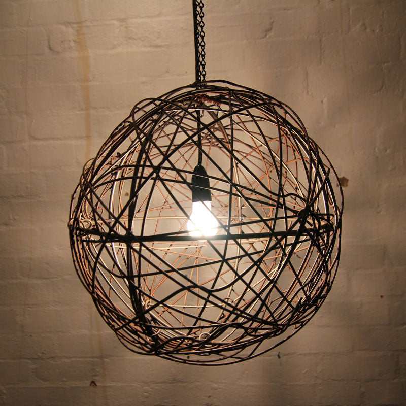 Barbed wire ball light fitting rustic lighting custom made mulbury fence wire light fitting by mulbury greentooth Images