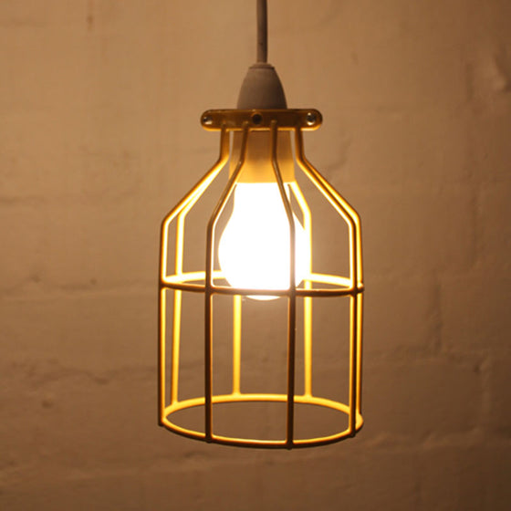 Yellow Industrial bird cage light pendant by Mulbury